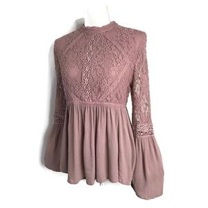 American Eagle Top Mauve Bell Sleeve Lace Blouse